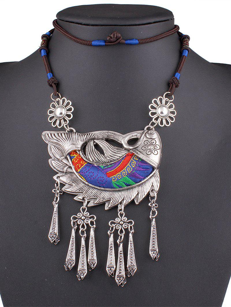Stylish Embroidery Lucky Fish Necklace - BLUE