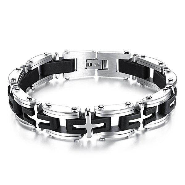 Charming Plastic Cross Geometric Health Bracelet For Men - SILVER