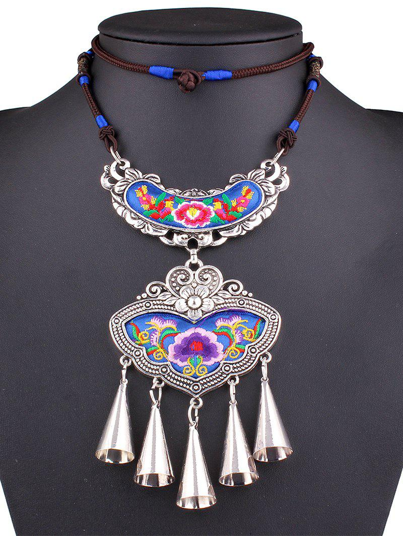 Stylish Flower Embroidery Necklace - BLUE