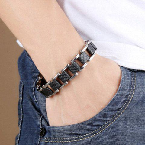 Delicate Silver Plated Cut Out Health Bracelet For Men - BLACK