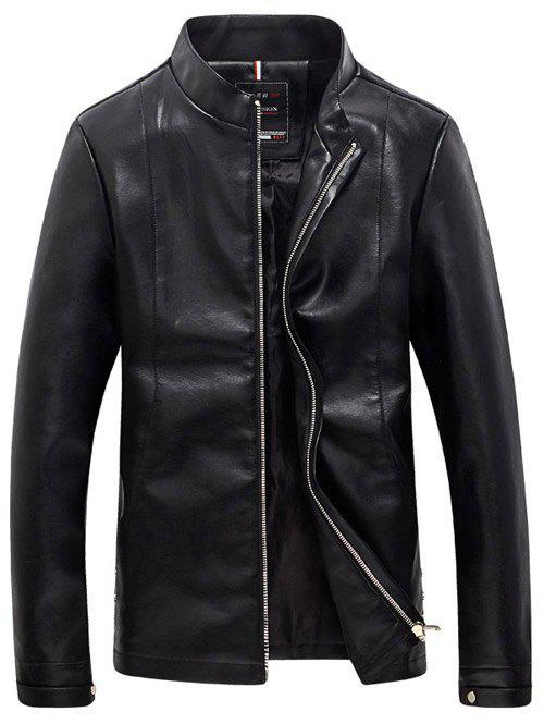 PU-Leather Simple Plus Size Stand Collar Long Sleeve Men's Jacket
