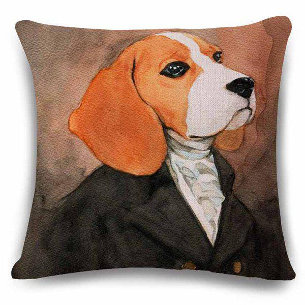 Hot Sale Home Decor Flax Square Bulldog Gentry Pattern Pillow Case - BLACK/BROWN