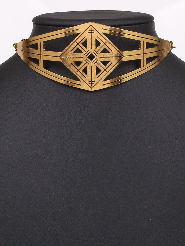 Statement Cut Out Geometric Alloy Choker Necklace - GOLDEN
