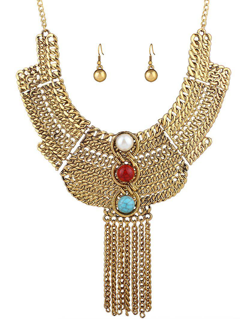 Ethnic Layered Chain Necklace and Earrings - GOLDEN
