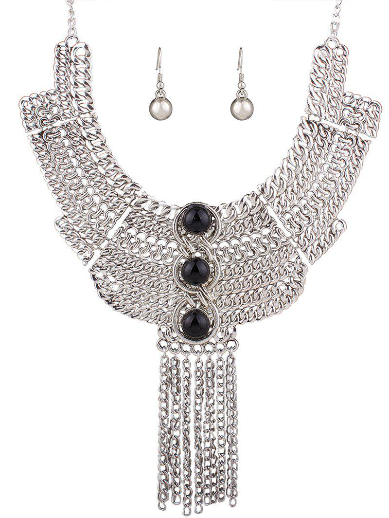 Stylish Chain Fringe Necklace and Earrings - SILVER/BLACK