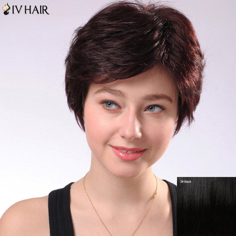 Refreshing Short Fluffy Side Parting Women's Siv Human Hair Wig - BLACK
