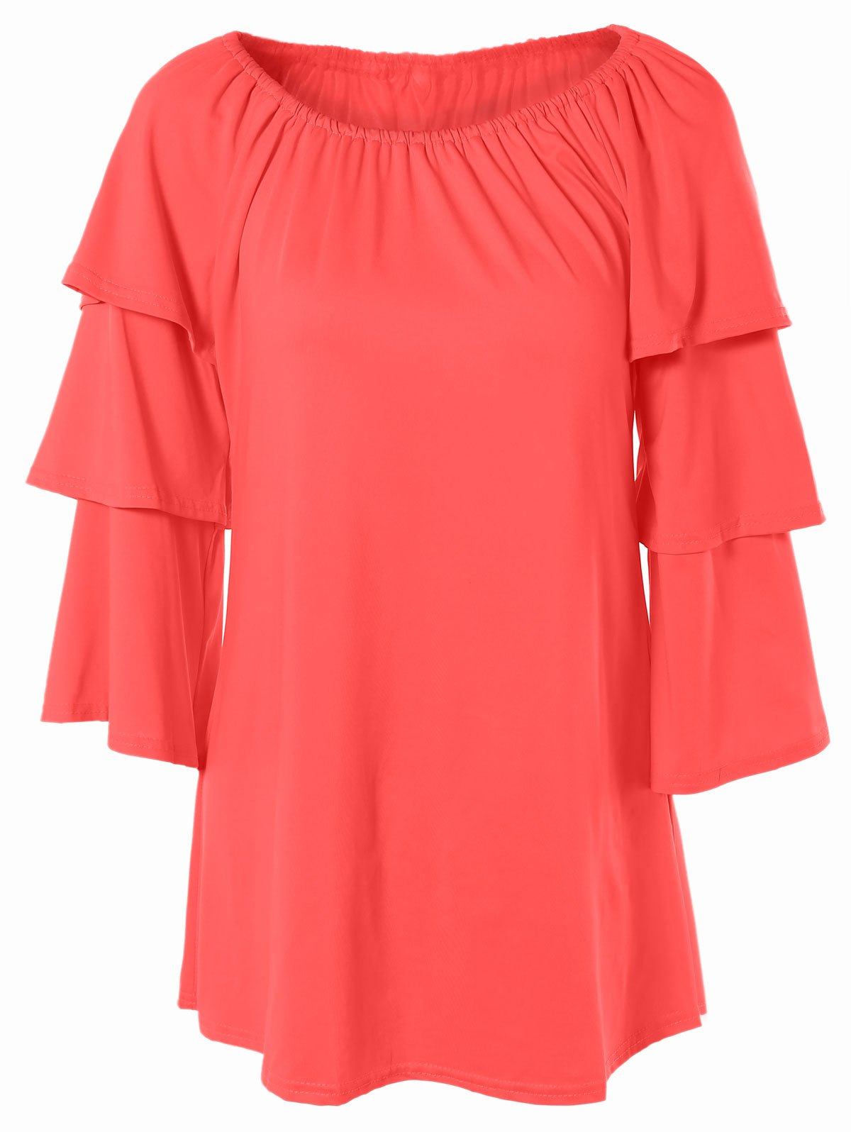 Scoop Neck Tiered Sleeve T-Shirt - WATERMELON RED S