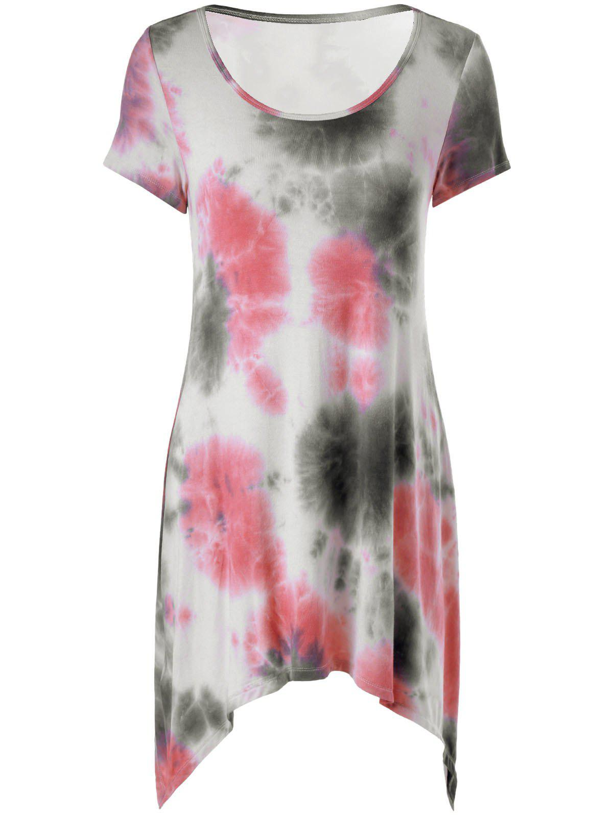 Fashionable Round Collar Tie-Dye Short Sleeve Dress For Women - COLORFUL L