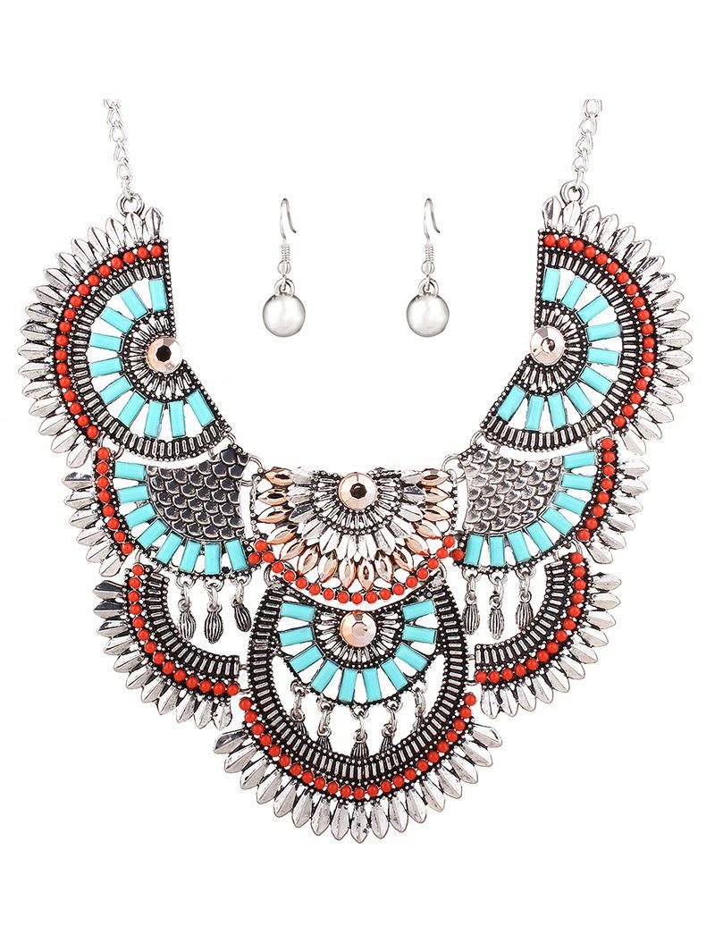 Ethnic Fish Scale Necklace and Earrings - BLUE