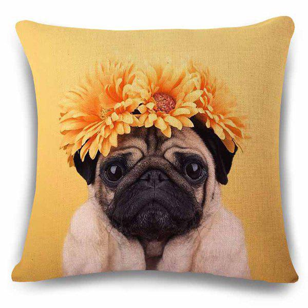 Cute Home Decor Flax Square Puppy with Headress Flower Pattern Pillow Case - YELLOW/BLACK