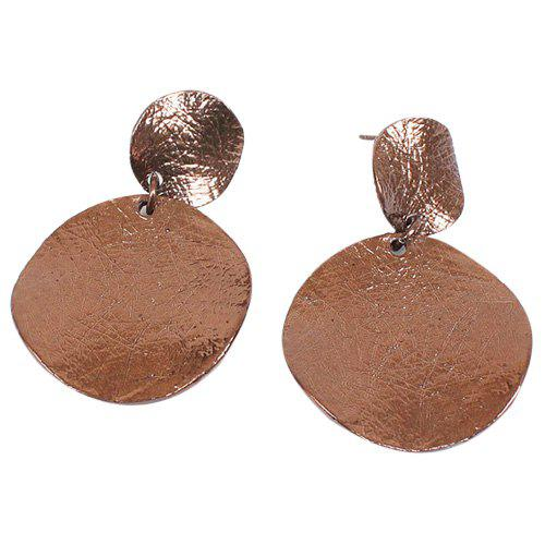 Pair of Round Shape Earrings - BROWN