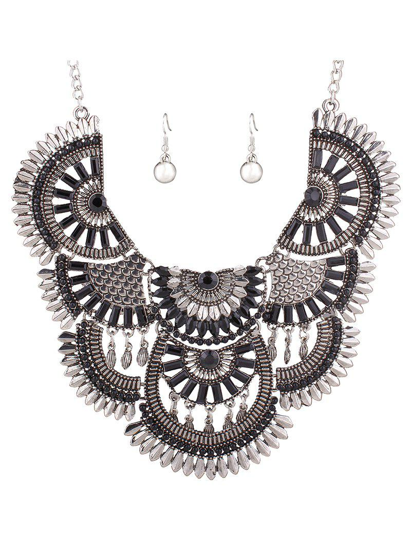 Stylish Resin Bead Necklace and Earrings - BLACK