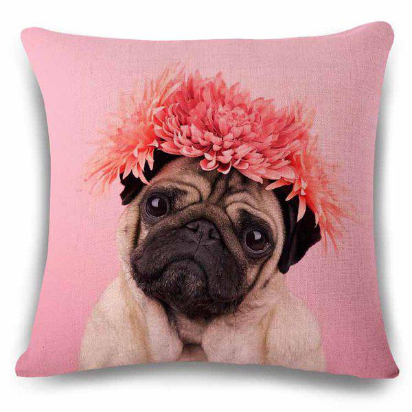 Stylish Home Decor Puppy with Headress Chrysanthemum Pattern Pillow Case - BLACK/PINK