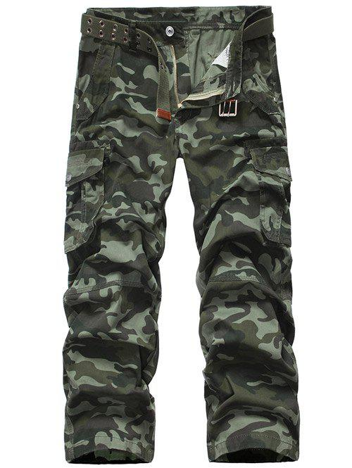 Plus Size Camouflage Zipper Fly Straight Leg Pockets Design Men's Cargo Pants - ARMY GREEN 36