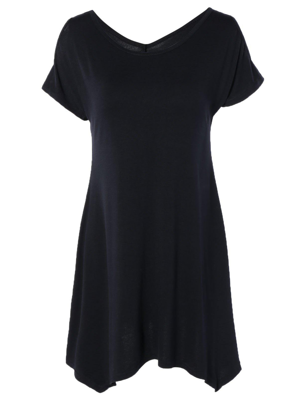Scoop Neck Cold Shoulder Asymmetric T-Shirt - BLACK XL