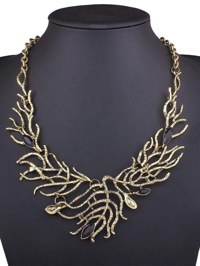 Stylish Faux Gem Branch Necklace - GOLDEN