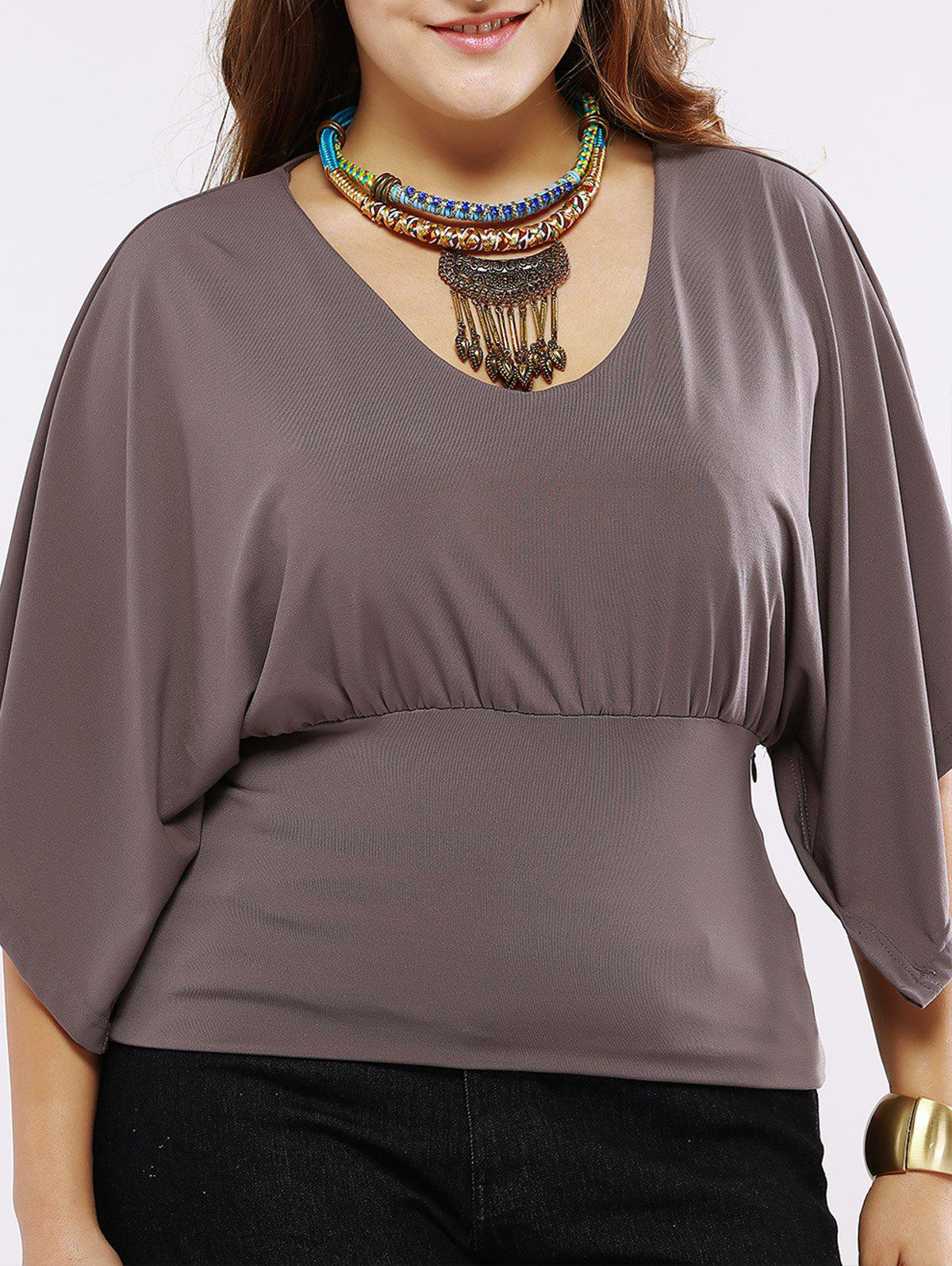 Plus Size Chic Batwing Sleeve Ruched Blouse