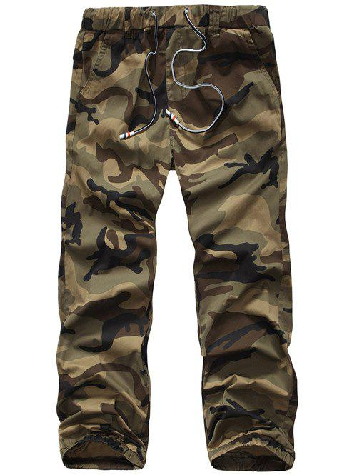 Lace-Up Camouflage Plus Size Straight Leg Men's Pants - EARTHY 38