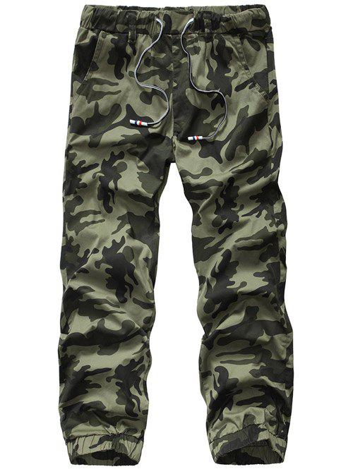 Lace-Up Camouflage Plus Size Straight Leg Men's Pants - ARMY GREEN 33