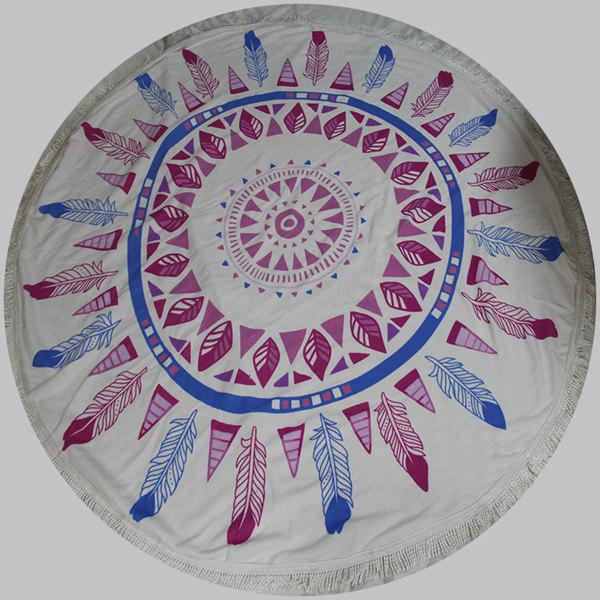Chic Quality Feather and Leaves Pattern Round Beach Throw With Tassels - COLORMIX