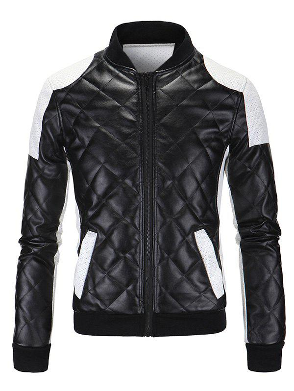 Color Block Spliced Argyle Plus Size Stand Collar Long Sleeve Men's PU-Leather Jacket 189360812