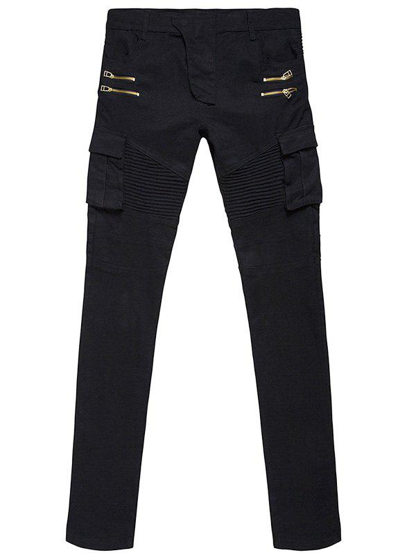 Stylish Side Pockets Zippers Design Slim Fit Casual Pants For Men