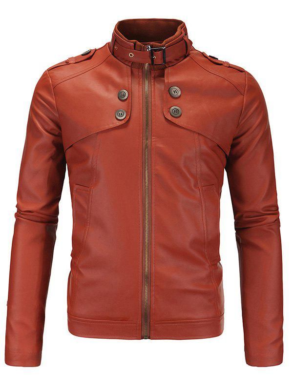 Buttons Design Plus Size Stand Collar Long Sleeve Men's PU-Leather Jacket - BROWN 4XL