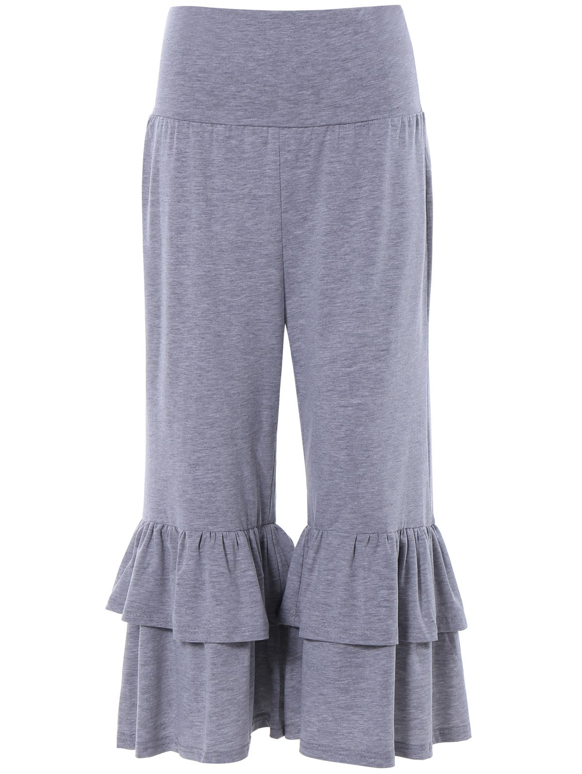Tiered Ruffled Capris - GRAY XL