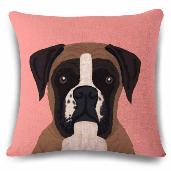 Hot Sale Home Decor Flax Square Puppy Pattern Pillow Case - BLACK/PINK