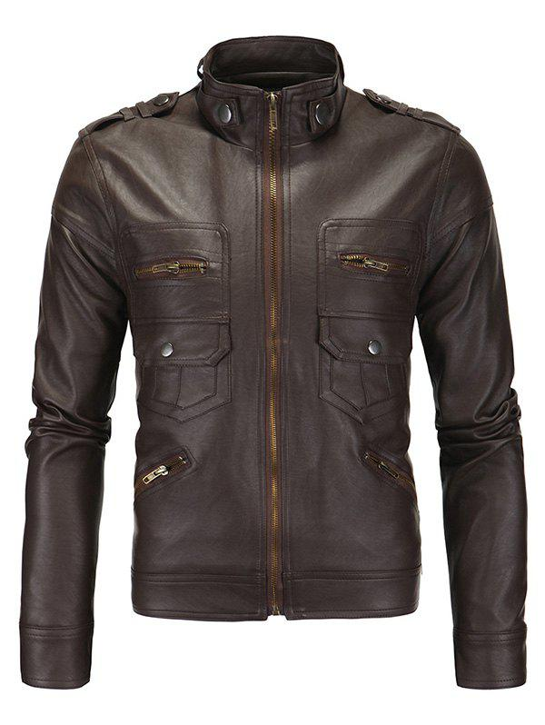 Zipper Pockets Epaulet Design Stand Collar Long Sleeve Men's PU-Leather Jacket - COFFEE 2XL