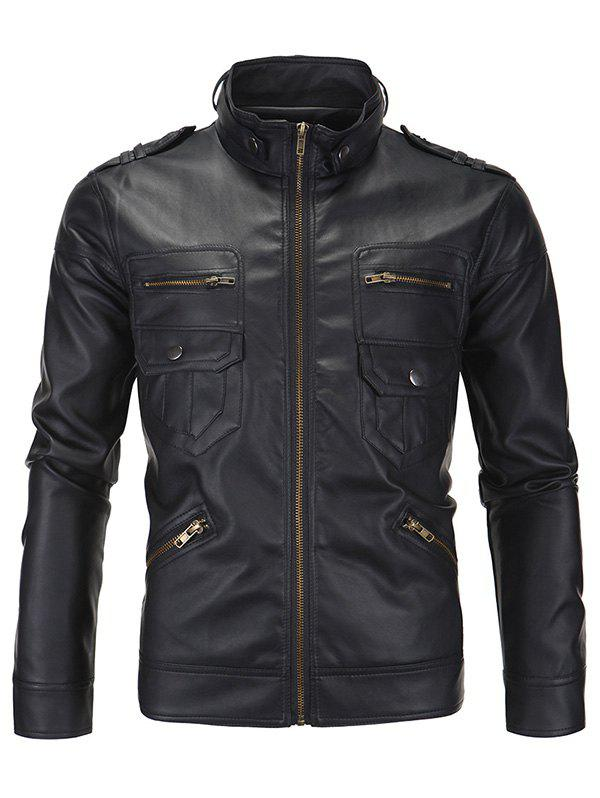 Zipper Pockets Epaulet Design Stand Collar Long Sleeve Men's PU-Leather Jacket 189366412
