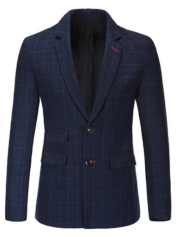 Trendy Notched Lapel Collar Classic Checked Blazer For Men - PURPLISH BLUE XL