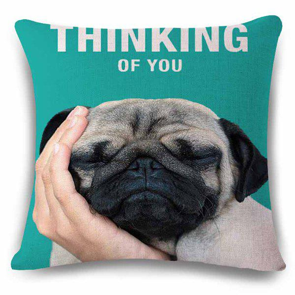 Fishionable Thinking of You Home Decor Sleeped Puppy Pattern Pillow Case - BLACK/GREEN