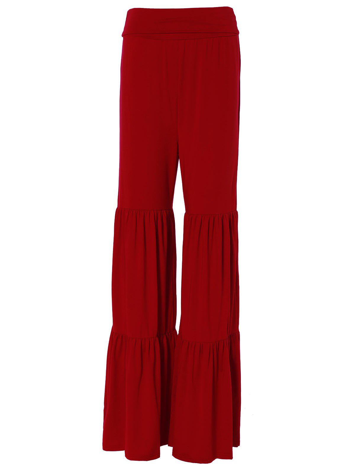 Tiered Ruffled Pants - RED M