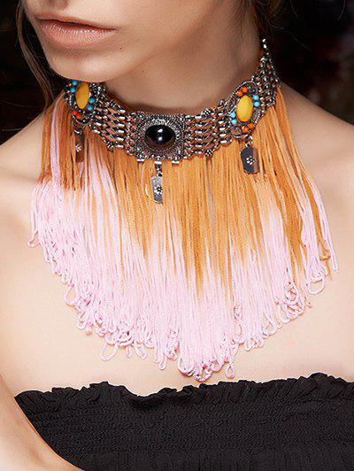 Rope Fringed Color Block Choker - COLORMIX