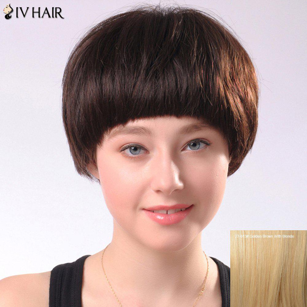 Spiffy Short Full Bang Womens Siv Human Hair WigHair<br><br><br>Color: GOLDEN BROWN WITH BLONDE