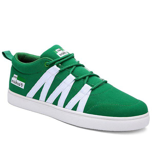 Trendy Color Splicing and Tie Up Design Men's Casual Shoes - GREEN 43