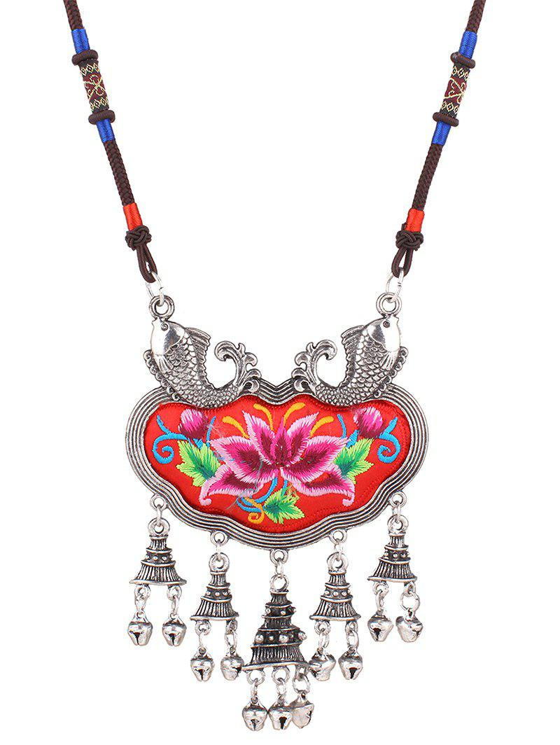 Stylish Lotus Embroidery Carp Necklace - RED