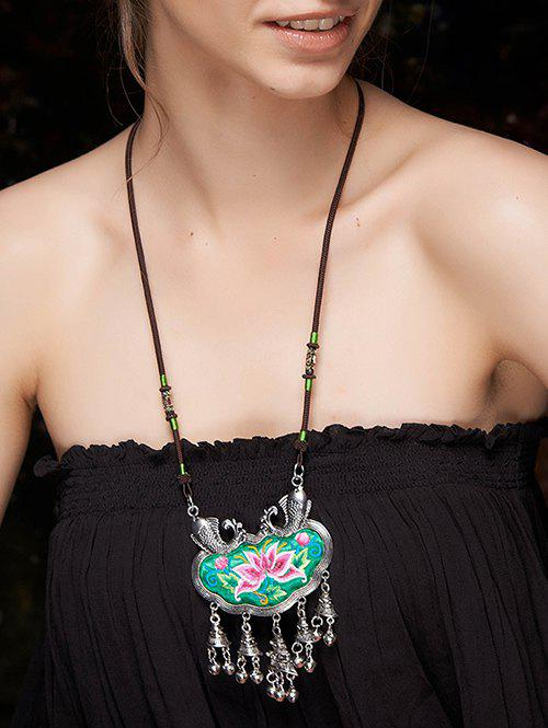 Vintage Lotus Embroidery Fringed Necklace - GREEN