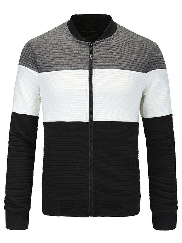 Classic Ribbed Collar Color Block Spliced Long Sleeve Jacket For Men