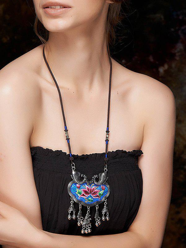 Stylish Sinicism Lotus Embroidery Necklace - BLUE