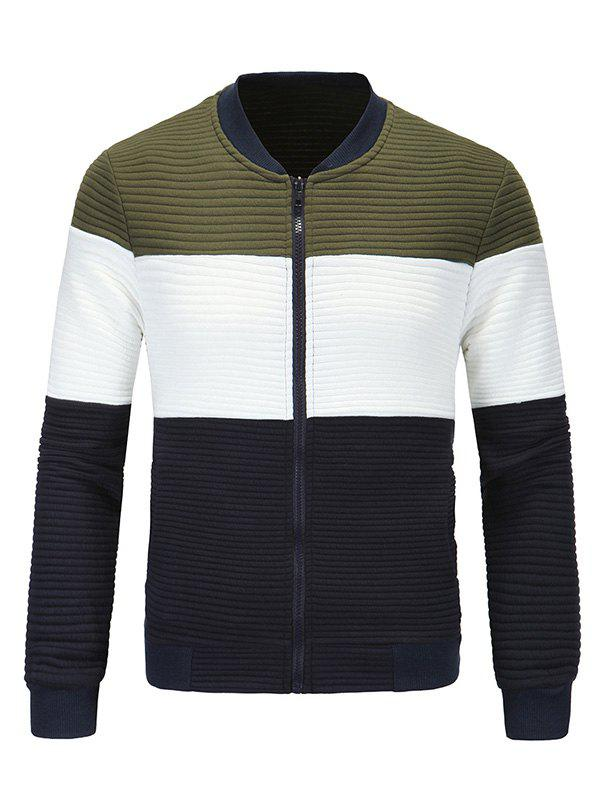 Classic Ribbed Collar Color Block Spliced Long Sleeve Jacket For Men 189370120