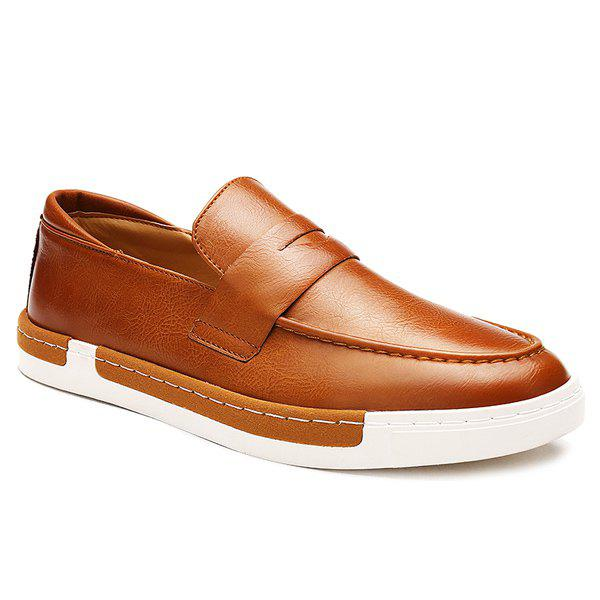 Trendy Solid Color and PU Leather Design Men's Casual Shoes - BROWN 43