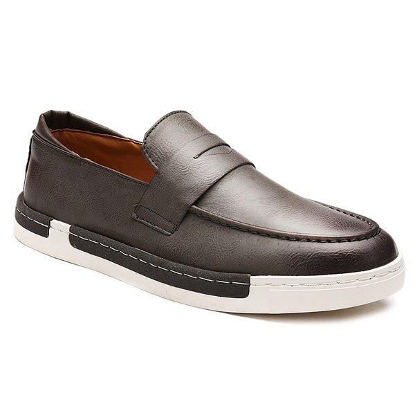 Trendy Solid Color and PU Leather Design Men's Casual Shoes - GRAY 40