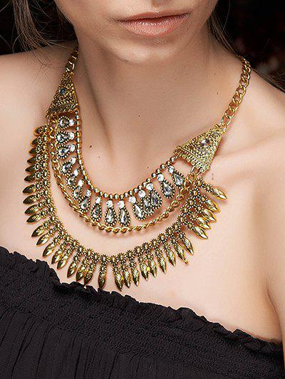 Stylish Rhinestone Layered Fringe Necklace - GOLDEN