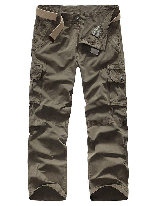 Zipper Fly Straight Leg Plus Size Pockets Design Men's Cargo Pants - GRAY 30