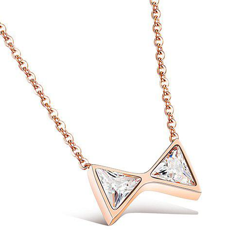 Mini Bowknot Gold Plated Pendant Necklace - ROSE GOLD