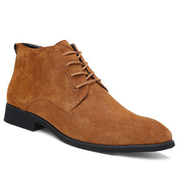 Fashionable Suede and Tie Up Design Men's Casual Shoes - BROWN 43