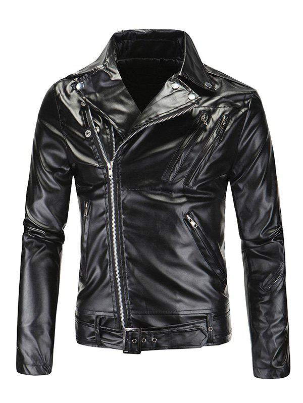 Fashionable Diagonal Zipper Opening Long Sleeves Leather Jacket For Men tech line 628 6 5х16 5х105 ет39 56 6 bd ch