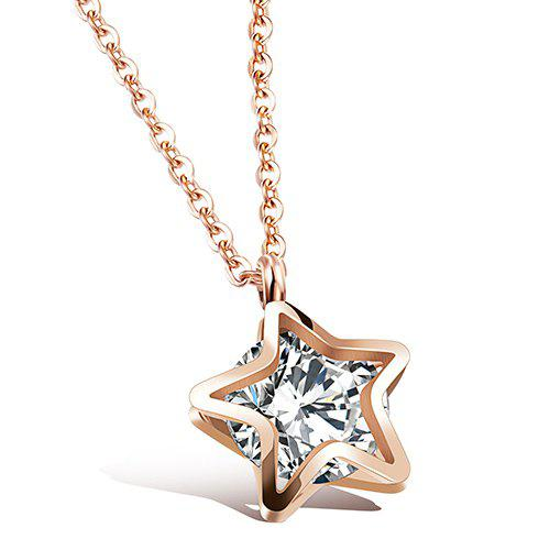 Star Filigree Rhinestone Pendant Necklace - ROSE GOLD